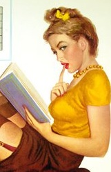 Vintage pin-up girl reading
